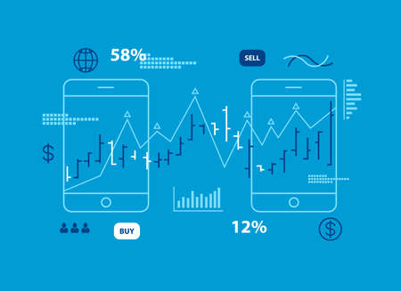 Growth bar graph and stock charts on two digital tablet screen. Statistics and report concept. Vector illustration in cartoon style.