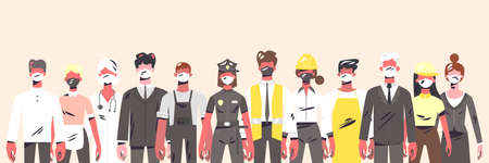 Collection of people workers with tools in uniform. Doctor, policeman, teacher, builder and other. Cartoon character flat vector illustration.