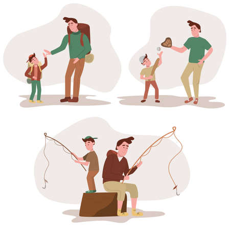 Set of father and son go hiking, play baseball and fishing. Cartoon vector illustrations