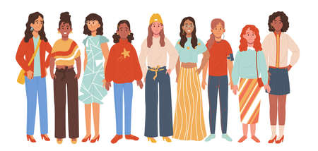 Multiethnic group of woman isolated on white background. Multinational women standing together. Vector illustration in cartoon style.
