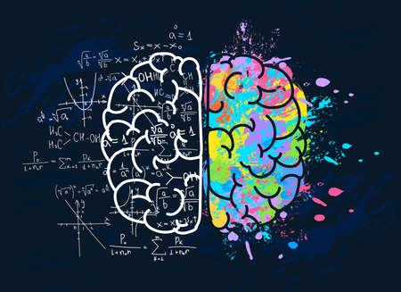 Left and right brain with science and colors art mentality. Vector illustration in flat style.