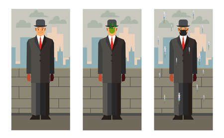 Set of man in suit standing on street. Man with an apple in front of his face and in a mask with flying syringes. Illustration of Magritte style. Vector illustration design Ilustración de vector