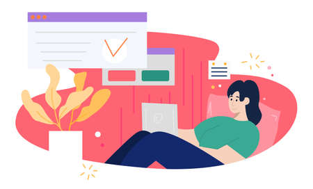 Brunette woman freelancer sitting on cozy sofa and working using laptop. Concept of remote work from home. Flat design Illustration. Vector