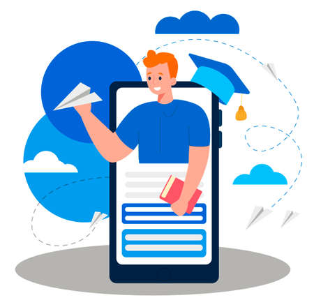 Online distance educational process. A student launch a paper plane to the future career opportunities after graduation. Concept of e-learning. Flat design Illustration. Vector 向量圖像