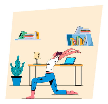 Morning activity for healthy lifestyle. A happy woman doing home training exercises. Flat design Illustration. Vector