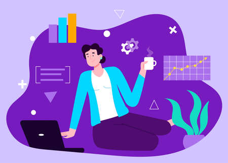 Brunette businesswoman sitting on the floor at living room and working on laptop. Concept of remote work from home. Charts and graphs in the air. Flat design Illustration. Vector