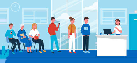 Queue in hospital with people and registry service. Healthcare and medical concept. Vector illustration in flat style.