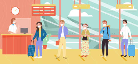 People in face mask with luggage check in for travelling at the airport. Vector illustration in flat style.