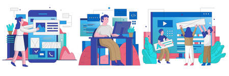 Collection of people works in the it industry. Cartoon character flat vector illustration. 向量圖像