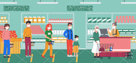 People in mask waiting in long queue in market. Shopping in foodmarket and quarantine concept. Vector illustration design