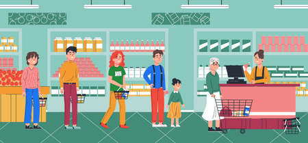 People waiting in long line queue in supermarket. Shopping in foodmarket concept. Cartoon character flat vector illustration.