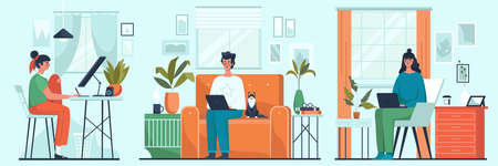 Set of freelance people work in comfortable conditions at home. Freelancer character working from home convenient workplace. Vector illustration in cartoon style.