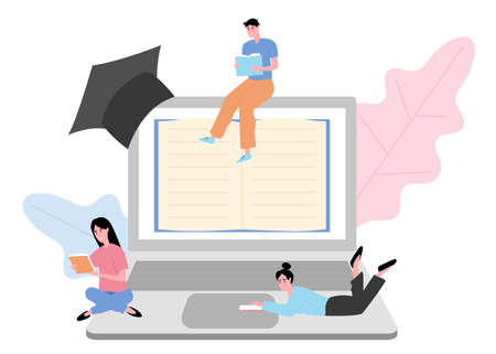 School distance learning, device screen and pages of book. Three student with books reading, concept of online homework. Flat design illustration. Vector.