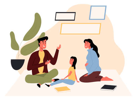 Female and male talking with a child sitting on the floor. Family communication, home together. Flat design illustration. Vector