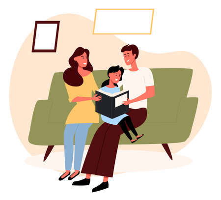 Female and male with a child reading a book together, sitting on the couch. Family communication, home together. Flat design illustration. Vector