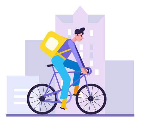 Food delivery brunette woman with thermal bag riding a bicycle on city street. Concept of fast delivery service. Flat design illustration. Vector