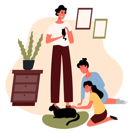 Woman and man with child, petting black cats. Family communication, home indoors with animals. Flat design illustration. Vector.
