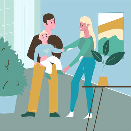 Family smiling blonde woman and man with baby in arms, home interior. Flat design illustration. Vector. Vector illustration