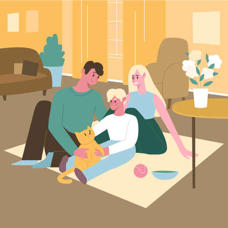 Family female and male with a grown-up kid with cat, sitting on the floor in home interior. Concept of family with kid and animal. Flat design illustration. Vector