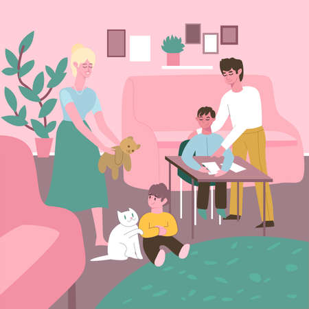Happy family female and male with two kids boys, white cat and bear toy, in home interior. Flat design illustration. Vector