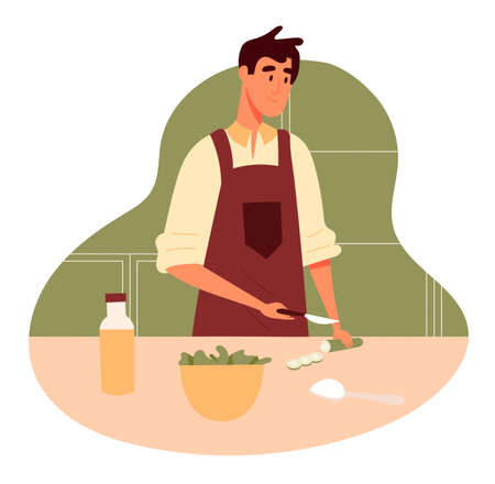 Man in red apron cooking salad, cutting a cucumber at the kitchen, salad in a bowl. Concept of eating at home. Flat design illustration. Vector