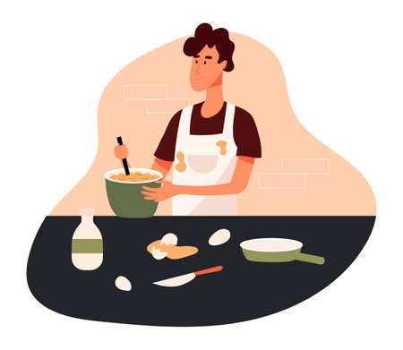 Male cook in apron mixing making a dough, eggs and pan on the table. Young man cooking at the kitchen, concept of eating at home. Flat design illustration. Vector