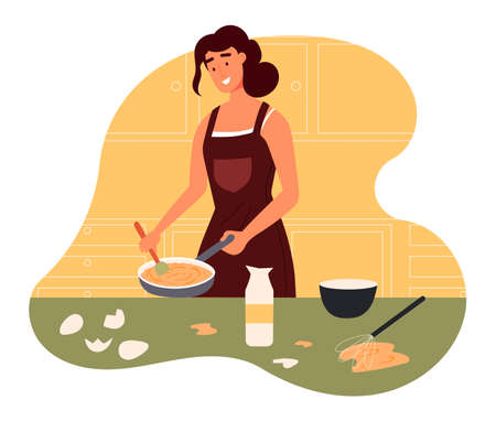 Female cook in apron mixing making omelet, eggs and pan on the table. Young woman cooking at the kitchen, concept of eating at home. Flat design illustration. Vector