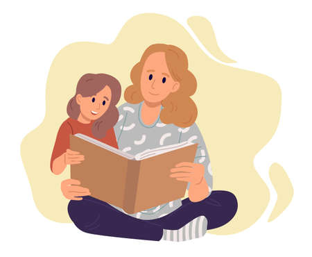 Mother with daughter reading a book at home. Young mother with little child, concept of spending time with kids. Flat design illustration. Vector.
