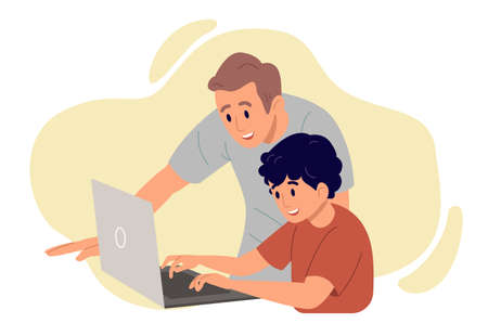 Father with son smiling looking at the screen of laptop. Father spend time with his little kid, concept of family leisure. Flat design illustration. Vector.