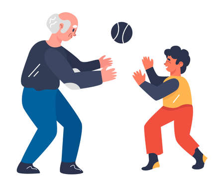 Grandson and senior man doing sports together, playing with ball. Concept of sports with family relatives. Flat design illustration. Vector.