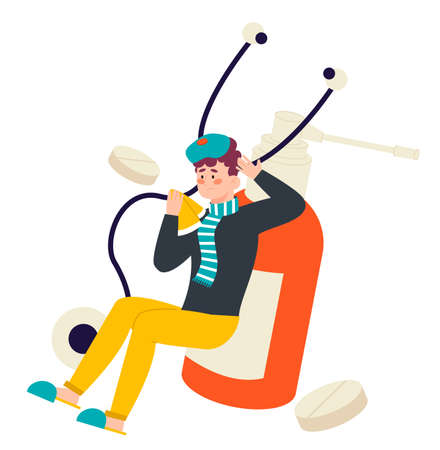 Sick man having a runny nose with pills, wearing warm clothes. Concept of illness and medical treatment. Flat design illustration. Vector