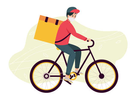 Food delivery man in protective mask with thermal bag riding a bicycle on city street. Concept of fast safe delivery service. Flat design illustration. Vector Ilustrace