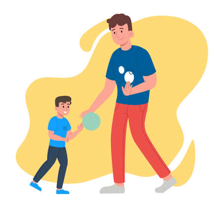 Smiling father and son, family spending time together playing basketball outside. Concept of family doing sports. Flat design illustration. Vector Ilustracja