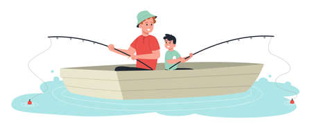 Smiling father and son, family spending time together fishing on water from boat. Concept of fishing. Flat design illustration. Vector Ilustracja