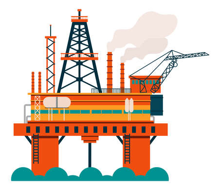 Oil and natural gas extractor on water, machine extracting oil from underground. Concept of oil and gas production. Flat design illustration. Vector