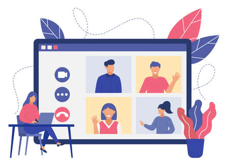 Online video conference with group of colleagues. Video chat with people, distance work. Concept of work from home. Flat design illustration. Vector