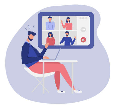 Office worker at the video conference online, table with laptop. Concept of working online, video call communication. Flat design illustration. Vector