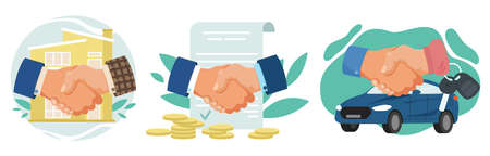 Business concept in flat style. Handshake and deal. House, coins and new car. Cartoon character flat vector illustration.