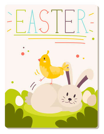 Easter postcard with animals on the grass, yellow chick standing on grey hare lying. Easter writing. Flat design illustration. Vector