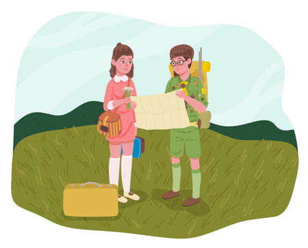 Little kids, girl with flowers and boy with backpack and map. Concept of hiking. Flat design illustration. Vector