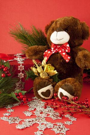bear berry: A holiday teddy bear with a Christmas present.