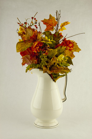 arrangment: Fall Flower Arrangement on a white background