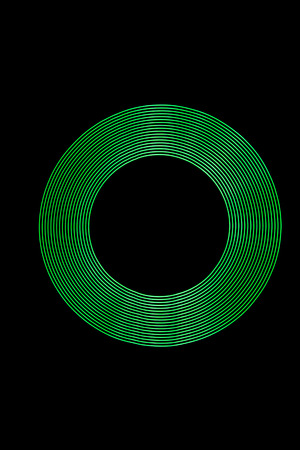 Green Light Ring created using Light Painting. Stock Photo