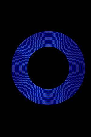 Blue Light Ring created using Light Painting. Stock Photo