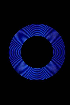 light painting: Blue Light Ring created using Light Painting. Stock Photo