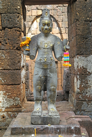 historic sites: Radiating  Bodhisattva  Avalokitesavara  This is the statue in Mueang Sing Historical Park a place of historic sites In Kanchanaburi, Thailand