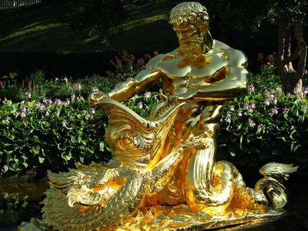 neptun: Fountain in Petergof(Russia).Russian Neptun. Stock Photo