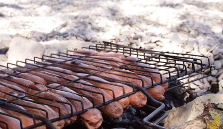 brazier: Sausages on a grill