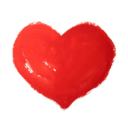Watercolor hand painted red heart photo