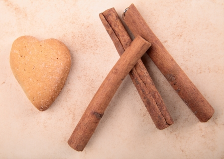 cookie in the form of heart cinnamon photo